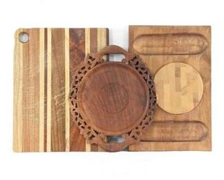 Lot Of 3 Mix Lot Carved Charcuterie/Cutting Boards