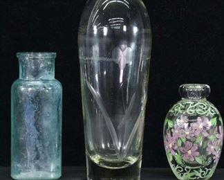 Set Of 3 Mix Lot Glass Bottles & Vase