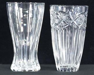 Pair Of Mix Lot Vintage Glass Vases