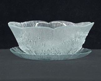 Pair Frosted Floral Salad Bowl & Platter