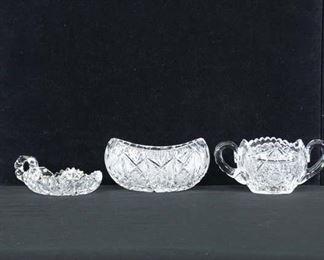 Set Of 3 Mix Lot Pressed Glass Bowls