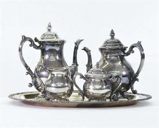 Set Of 5 Mix Lot Silver Plate Tea Service