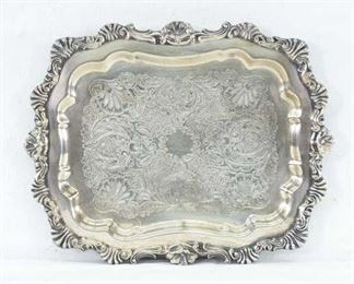 Vintage Etched Silverplate Serving Tray