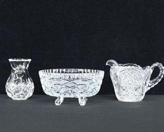 Set Of 3 Mix Lot Pressed Glass Dishware