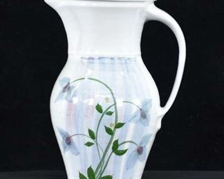 Handmade Studio Pottery Garden Motif Stoneware Pitcher