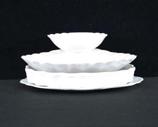 Set Of 3 Mix Lot White Porcelain Platters