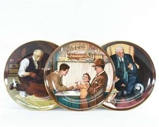 Set Of 3 Knowles Norman Rockwell Decorative Plates