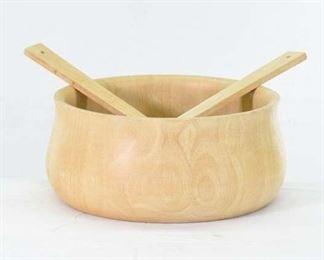 Mix Lot Carved Salad Bowl Utensils & Napkin Rings