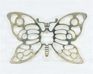 Cast Metal Brass Finish Butterfly Trivet