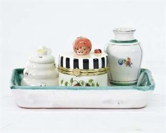 Set Of 4 Mix Lot Ceramic Tableware & Decor