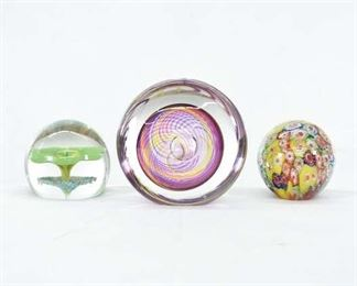 Set Of 3 Mix Lot Floral Blown Glass Paperweights