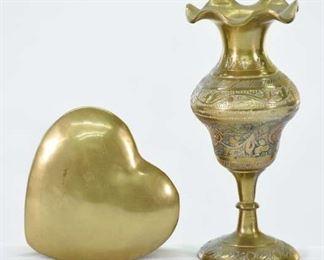 Pair Mix Lot Brass Heart Box & Vase