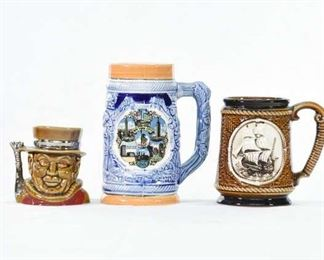 Set Of 3 Mix Lot Collectible Mug Steins