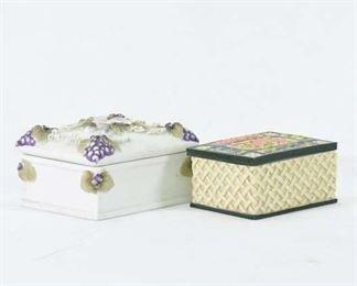Pair Mix Lot Small Porcelain Trinket Boxes