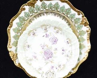Pair Vintage Rose & Limoges France Porcelain Plates