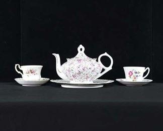 Set Of 6 Mix Lot Porcelain Tea Set W Musical Teapot