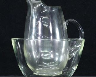 Pair Glass Pitcher & Bowl