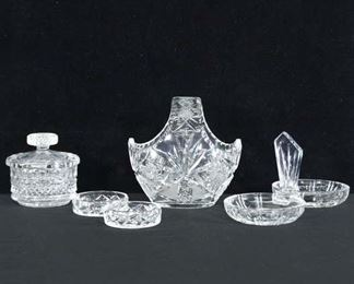 Set Of 5 Mix Lot Pressed Glass Dishware