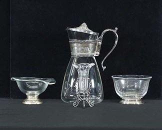 Set Of 3 Mix Lot Glass & Silverplate Dishware