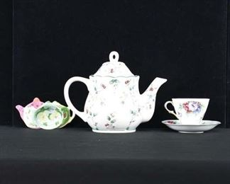 Set Of 5 Mix Lot Tea Time Motif Porcelain Dishware