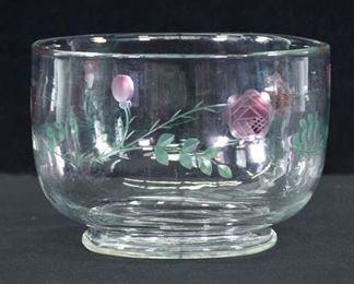 Etched Glass Rose Motif Bowl