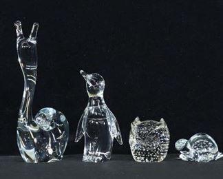 Set Of 4 Mix Lot Blown Glass Animal Figures
