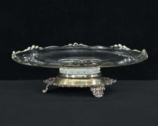 Victorian Glass & Silverplate Lazy Susan