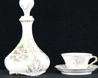 Set Of 3 Mix Lot Porcelain Decanter Cup & Saucer