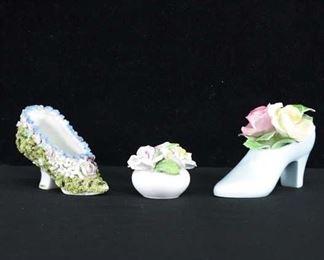 Set Of 3 Mix Lot Porcelain Trinkets
