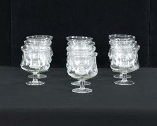 Set Of 10 Etched Glass Shrimp Cocktail Glasses