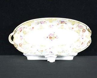 Pair Of Vintage Porcelain Inkwell & Platter