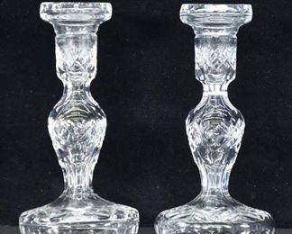 Pair Of Vintage Pressed Glass Candlesticks