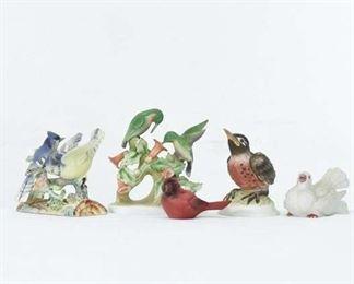 Set Of 5 Mix Lot Porcelain Bird Collectible Figures