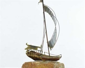 Hand Sculpted Metal Sailboat Mounted On Stone