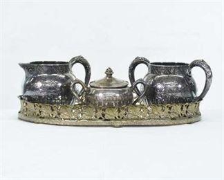 Vintage Style Tea Set W/ Mirror Tray