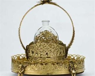 Vintage Mirrored Perfume/Vanity Tray Basket & Bottle