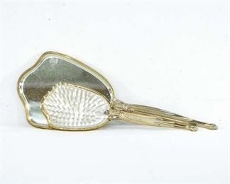 Gold Plated Vintage Hair Brush And Hand Mirror