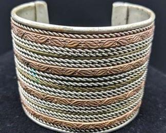 Two Tone Layered Metal Cuff Bracelet