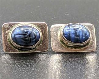 Sterling Silver Textured Blue Stone Stud Earrings