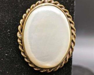 Goldtone Opal Brooch Pin W/ Twist Border