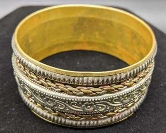 Two Tone Layered Metal Bangle Bracelet W/ Flowers