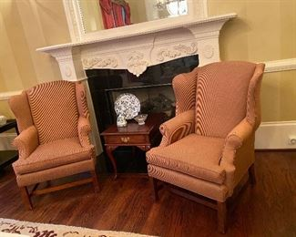 Pair of Henredon wingback chairs