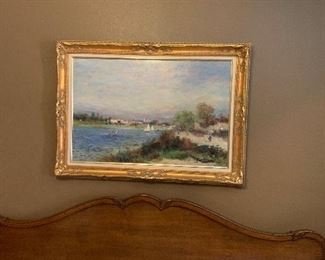 A beautiful acrylic on canvas painting by F. Latte, an early 20th century artist from England.  $200