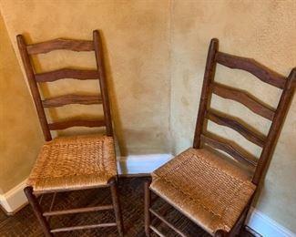 6 chairs    Woven Seat Ladderback Chair, Medium Oak , Beige