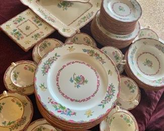 Mintons B925 Floral Pink Rim Plate No. 654443 62 pieces Made in England -Minton Will sell in sets