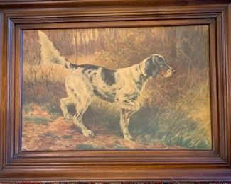 """German-American artist, 1858-1928. Signed lower right. Watercolor on paper.  Edmund Henry Osthaus """"Setter on Point""""  Good condition"""