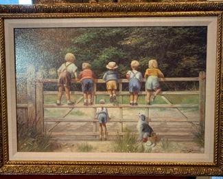 "SPENCER COLEMAN ""Bottoms Up!"" GATE children country. Nice frame. Signed. $45"