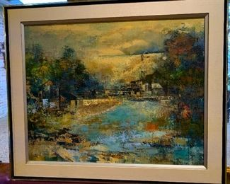 """American, Parker Lee was active in California, Louisiana, Mexico. Known for abstraction, realism, landscape, marine and life painting. This Vintage original oil painting on canvas, signed """"Parker Lee"""" in 1971  by PARKER LEE (LEO LEIBSOHN).  The painting with the frame.  Large Size. $300"""