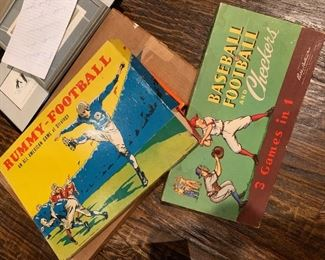 Vintage Parker Brothers Baseball Football and Checkers 3 in one board Game and Rummy football