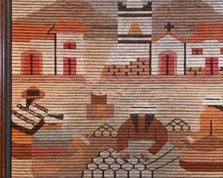 PERUVIAN WOVEN ALPACA WOOL WALL HANGING FIBER ART